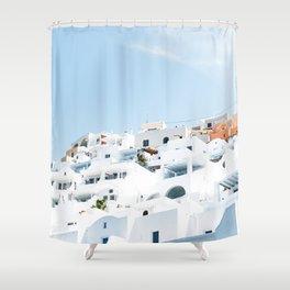 Lost in Santorini Greece Shower Curtain