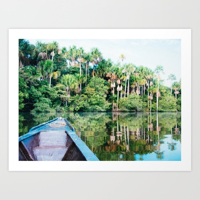 A Boat in the Amazon Rainforest Fine Art Print Art Print