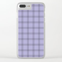 Black Grid on Pale Purple Clear iPhone Case