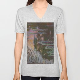 Water Lilies - Setting Sun by Claude Monet Unisex V-Neck