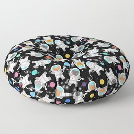 Astronaut Cats In Outer Space Pattern Floor Pillow
