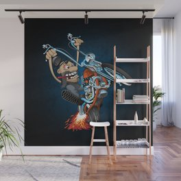 Biker popping a wheelie on a chopper motorcycle cartoon Wall Mural