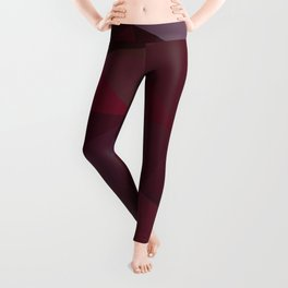 Abstract background of triangles polygon design red marsala colors Leggings