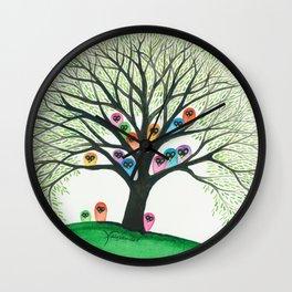 Shasta Owls in Tree Wall Clock