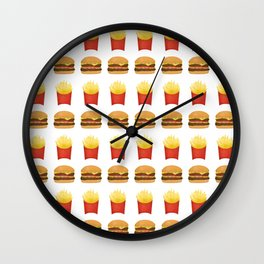 Burgers and Fries Pattern Wall Clock