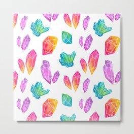 Watercolor Crystals Metal Print