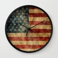american flag Wall Clocks featuring American Flag by KOverbee