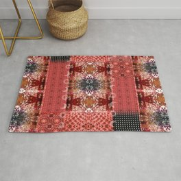 Boho Red Patchwork and Celestial Hippie Pattern Rug