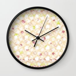 Waves and Dots - Beige Wall Clock