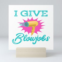 Great Gift Idea For Hairdresser Heartbeat Blower Scissors Comb T-shirt Design Silhouette Heart Mini Art Print