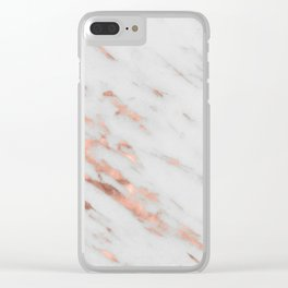 Lenola - minimalist rose gold gleam marble Clear iPhone Case