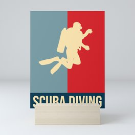 Scuba Diving Retro Vintage Design Mini Art Print