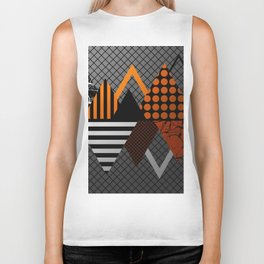 Industrial Geometry - Metallic, geometric, bronze, silver and gold, textured, patterned artwork Biker Tank
