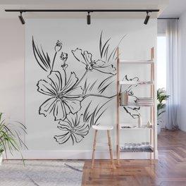 Cosmos Flowers Ink Drawing Wall Mural