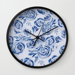 Blue Rose Floral Pattern - Most liked blues Wall Clock