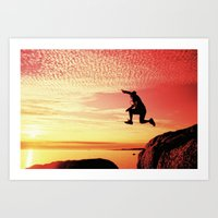sunset jump Art Print