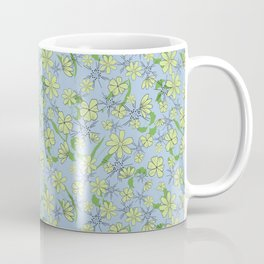 Pretty blue and green tossed floral Coffee Mug