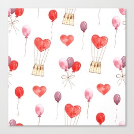 love in the air  watercolor pattern wit hearts, balloons Canvas Print