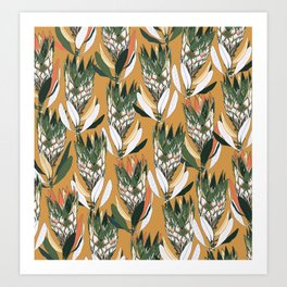 Gold and green wildflowers Art Print