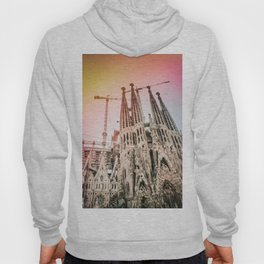 Rainbow Sky Vintage Sagrada Familia in Barcelona Spain Hoody