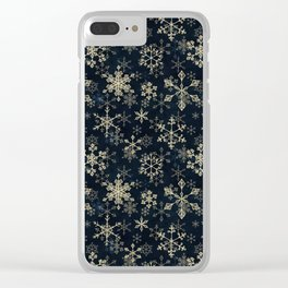 Snowflake Crystals in Gold Clear iPhone Case
