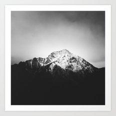 Black and white snowy mountain Art Print