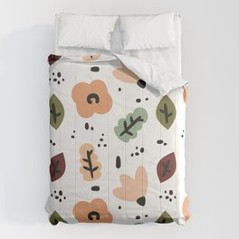 cute fall autumn pattern background with abstract elements, flowers and leaves Comforters
