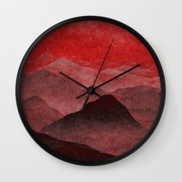 Through hilly lands and hollow lands - Red option Wall Clock