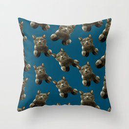 night sky skydiving funny flying cat Throw Pillow