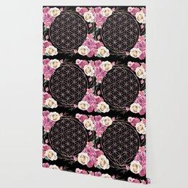 Flower of Life Rose Gold Garden on Black Wallpaper