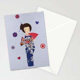 Kokeshi Geisha Japan Blue Stationery Cards