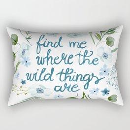 Floral Quote Blue Rectangular Pillow