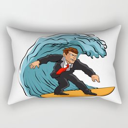 Businessman surfing on wave Rectangular Pillow