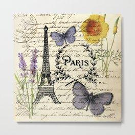 french botanical print purple butterfly lavender floral paris eiffel tower Metal Print