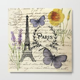 french botanical print purple butterfly lavender floral paris eiffel tower Metal Print