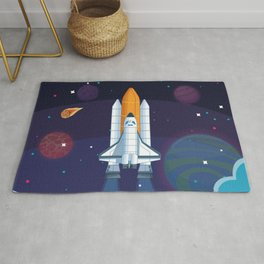Spaceship milkyway galaxy Rug