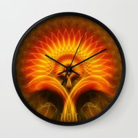 tree of life Wall Clocks featuring Life Tree by Christine baessler