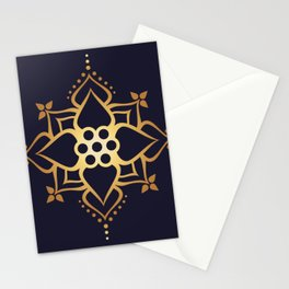 Indian Golden Lotus flower Mandala Pattern with Elegant Art Violet background Stationery Cards