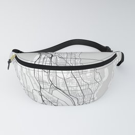Seattle city map white Fanny Pack