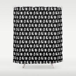 Beer Mugs on Black Shower Curtain