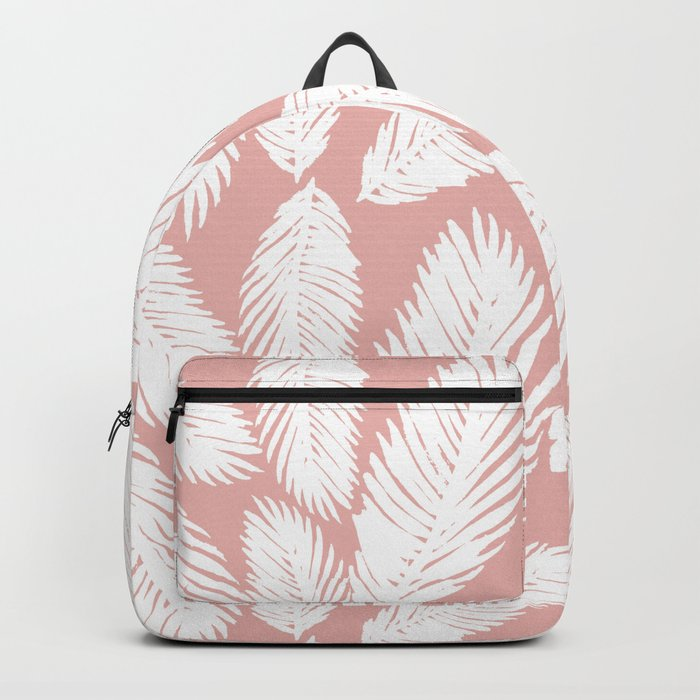 White Tropical Palm Tree Fern Leaf on Rose Gold Pattern Backpack