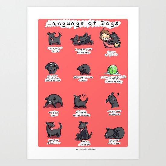 Language of dogs Art Print
