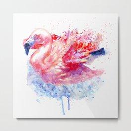 Flamingo on the Water Metal Print