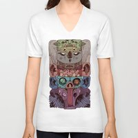 totem V-neck T-shirts featuring Totem by kitsunebis