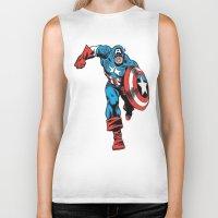 avenger Biker Tanks featuring Avenger: Cap' by Popp Art