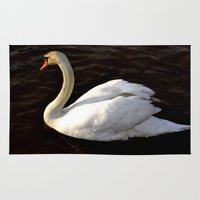 swan Area & Throw Rugs featuring swan by Cindy Munroe Photography
