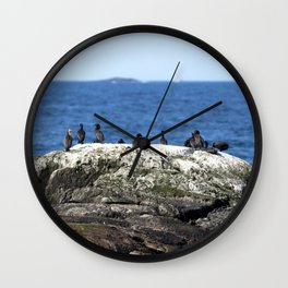 Watercolor Bird, Cormorant 09, Kejimkujik by the Sea, Nova Scotia, Canada Wall Clock