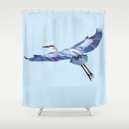 Great Blue Heron - illustration Shower Curtain