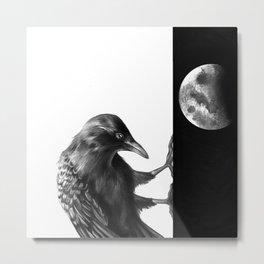Crow and the Moon 3 Metal Print