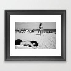 girls on beach Framed Art Print